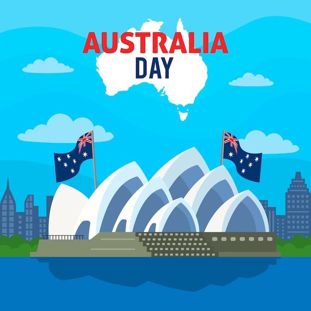 Concept De Jour Australie Coloré Vecteur gratuit