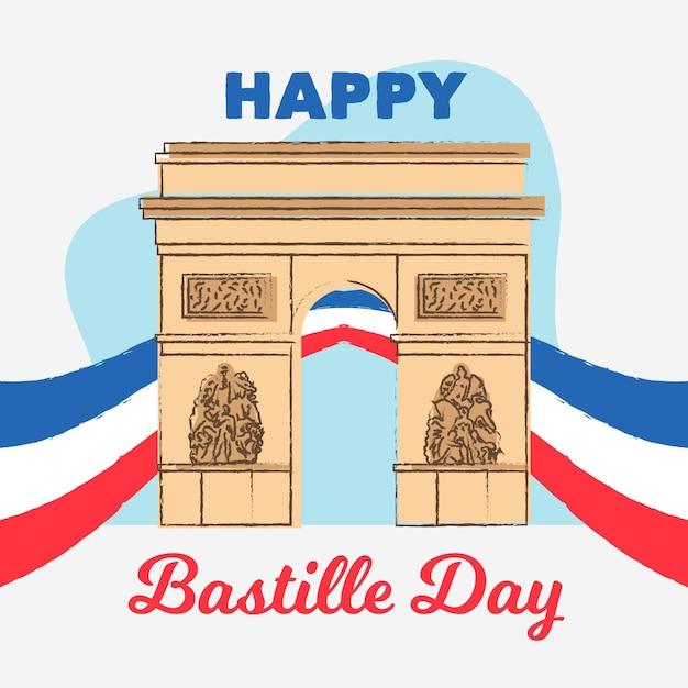 Concept De Jour Bastille Dessiné à La Main Vecteur gratuit