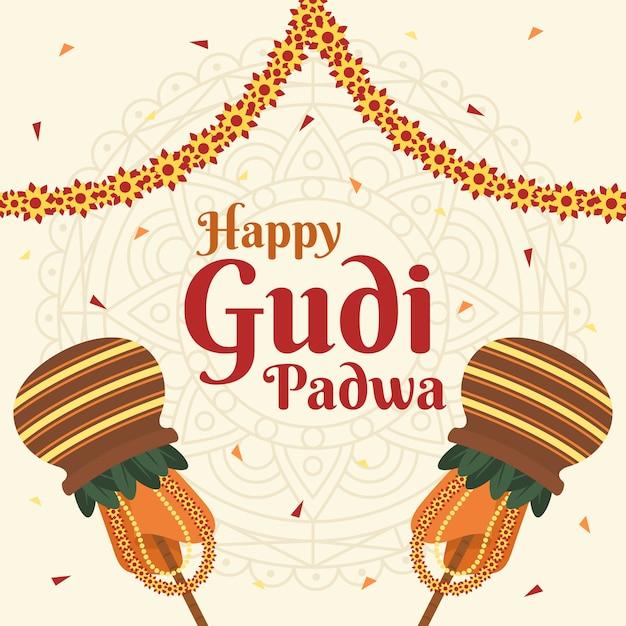 Concept De Jour Design Plat Gudi Padwa Vecteur gratuit