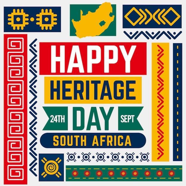 Concept De Jour Du Patrimoine Design Plat Afrique Du Sud Vecteur gratuit