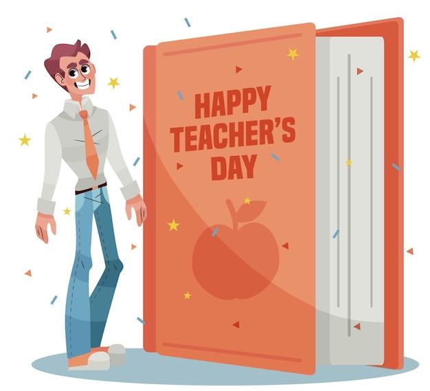 Concept De Jour Des Enseignants Dessinés à La Main Vecteur Premium