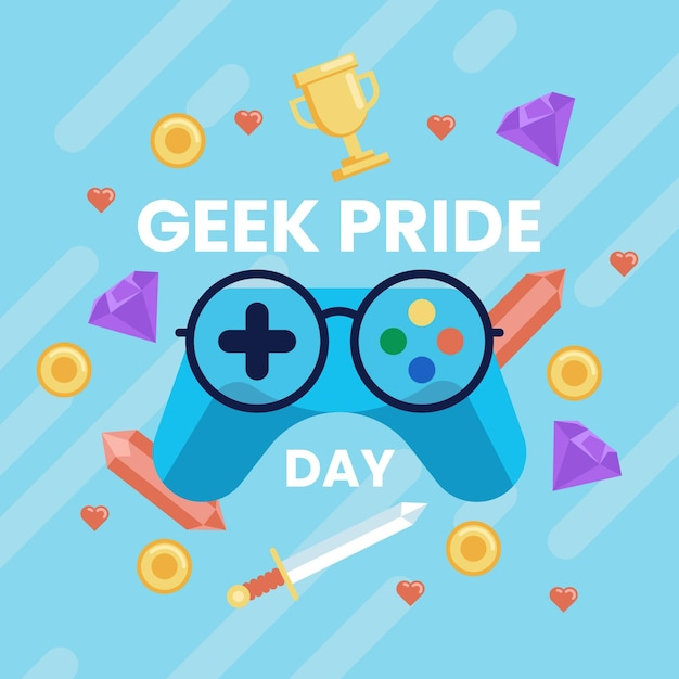 Concept De Jour De Fierté Geek Avec Contrôleur De Jeu Vecteur gratuit