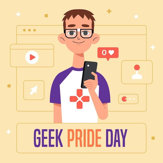 Concept De Jour De Fierté Geek Vecteur Premium