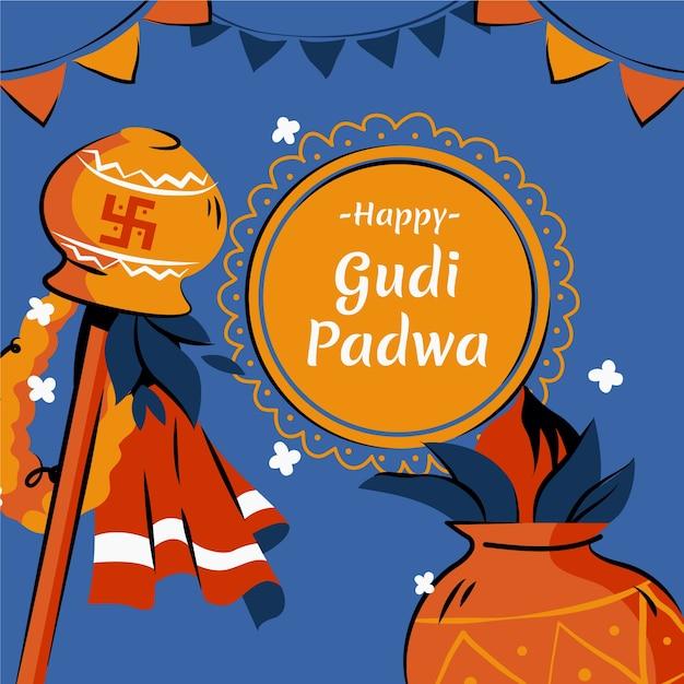 Concept De Jour Gudi Padwa Dessiné à La Main Vecteur gratuit