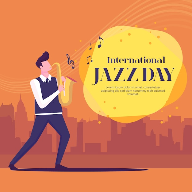 Concept De Jour De Jazz International Design Plat Vecteur gratuit