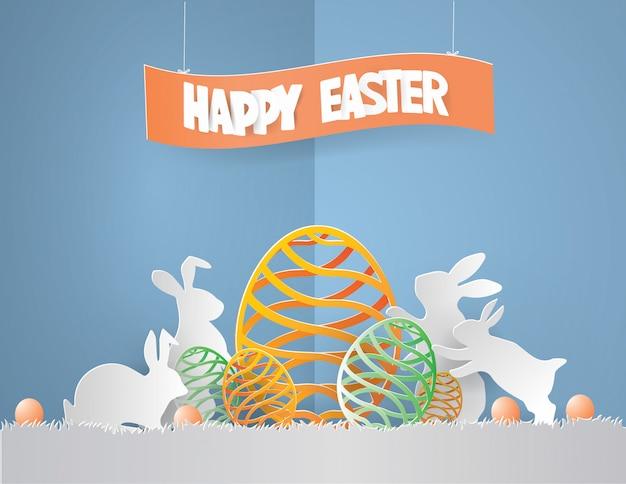 Concept de jour de pâques avec lapin de famille entouré d'oeufs Vecteur Premium