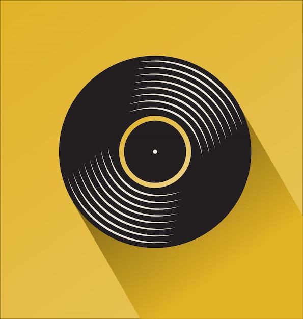 Concept de jour plat de disque vinyle noir Vecteur Premium