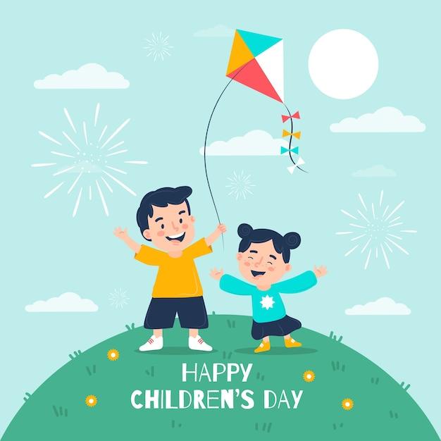 Concept De Jour Pour Enfants Au Design Plat Vecteur gratuit