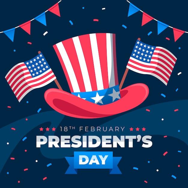 Concept De Jour Des Présidents De Design Plat Vecteur gratuit