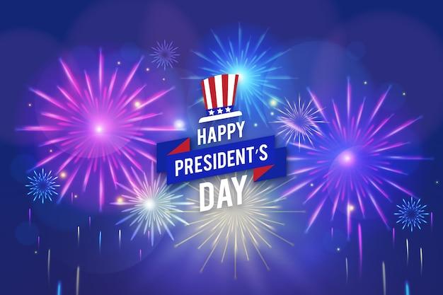 Concept De Jour Des Présidents De Feux D'artifice Vecteur gratuit