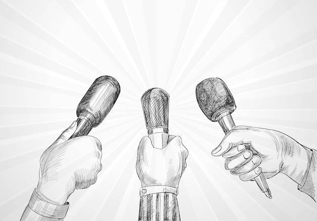 Concept De Journalisme Et De Conférence De Nombreuses Mains De Journaliste Tiennent La Conception De Croquis De Microphones Vecteur gratuit