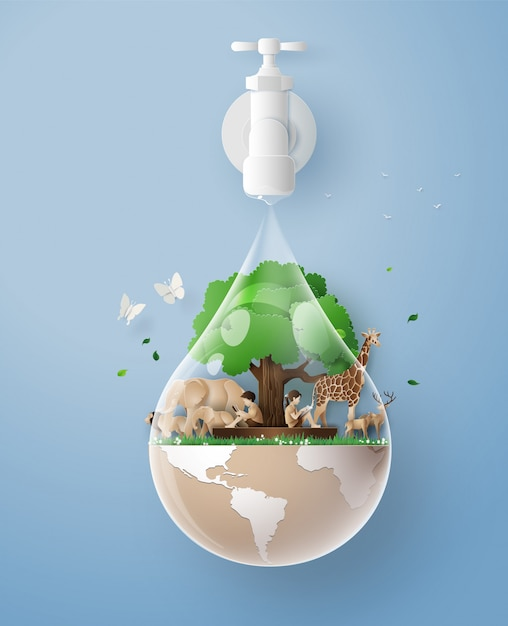 Concept de journée de l'eau écologique et mondiale Vecteur Premium