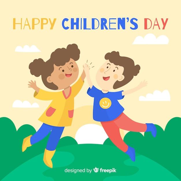 Concept de la journée des enfants au design plat Vecteur gratuit