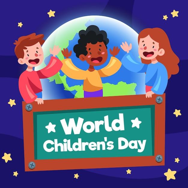 Concept De La Journée Des Enfants Du Monde Design Plat Vecteur gratuit