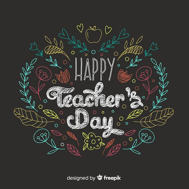 Concept de la journée des enseignants avec arrière-plan dessiné à la main Vecteur gratuit