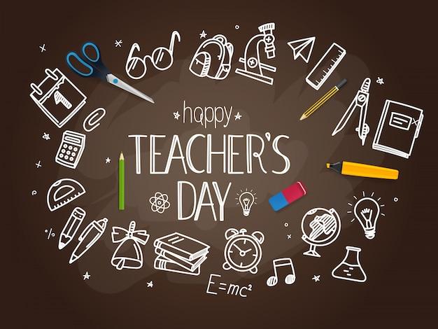 Concept de la journée des enseignants heureux Vecteur Premium