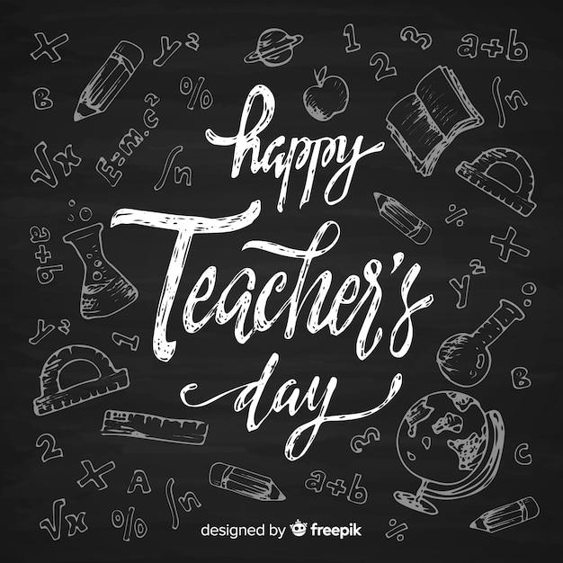 Concept de la journée des enseignants avec lettrage Vecteur gratuit