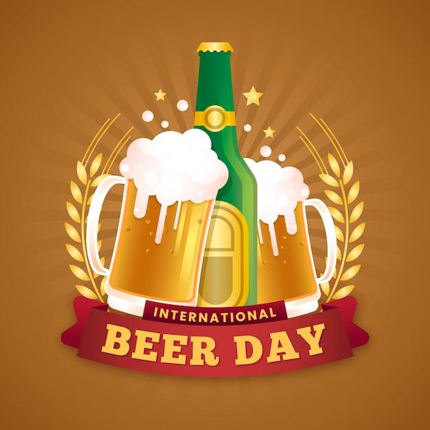 Concept De Journée Internationale De La Bière Au Design Plat Vecteur gratuit