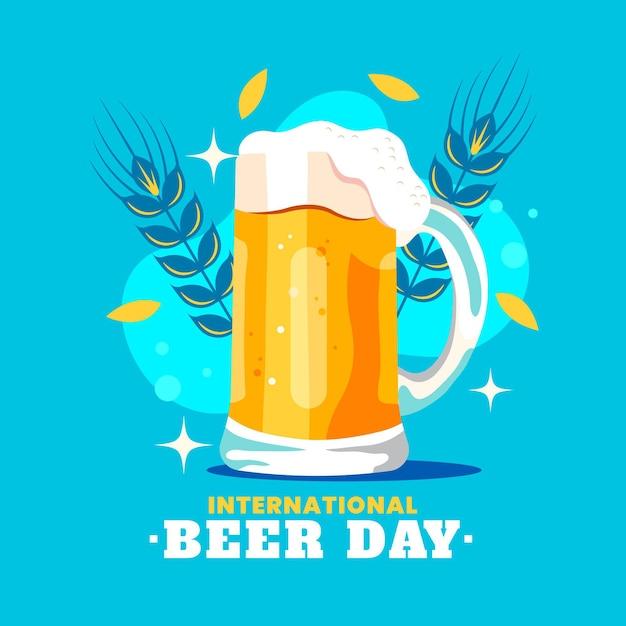 Concept De Journée Internationale De La Bière Plate Vecteur gratuit