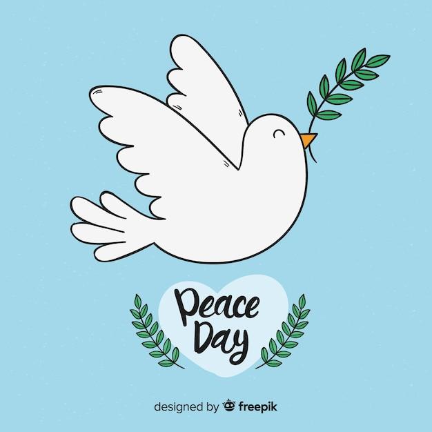 Concept de journée internationale de la paix avec colombe blanche Vecteur gratuit