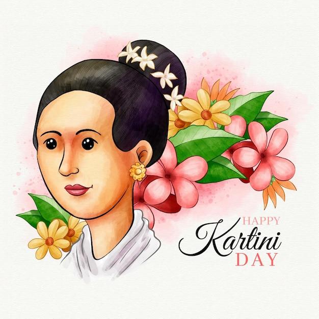 Concept De La Journée Kartini Vecteur gratuit
