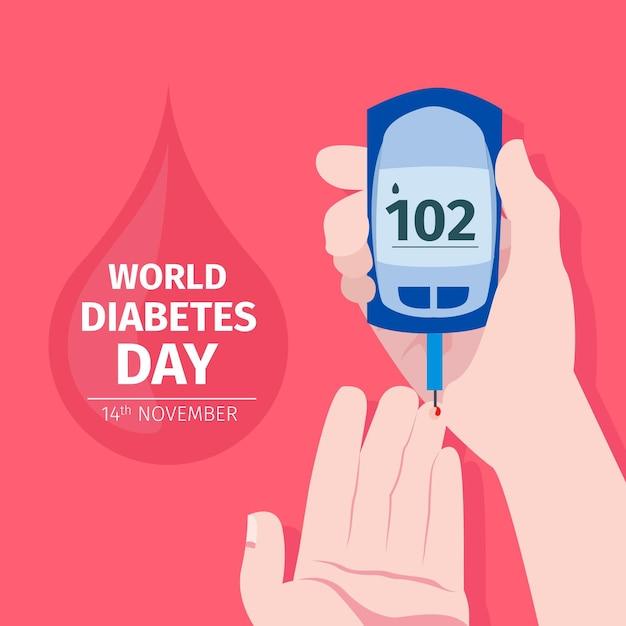 Concept De La Journée Mondiale Du Diabète Design Plat Vecteur gratuit