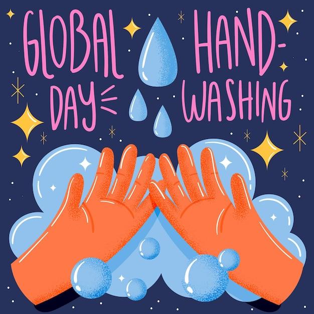 Concept De La Journée Mondiale Du Lavage Des Mains Vecteur gratuit