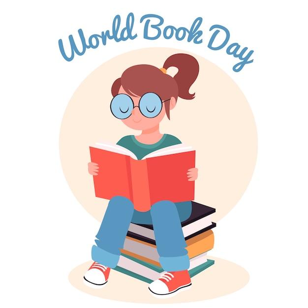 Concept De Journée Mondiale Du Livre Dessiné à La Main Vecteur gratuit