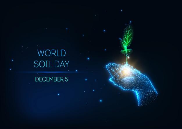 Concept De Journée Mondiale Du Sol Futuriste Avec Main Glow Low Poly Tenir Pousse Verte Sur Fond Bleu Foncé. Vecteur Premium