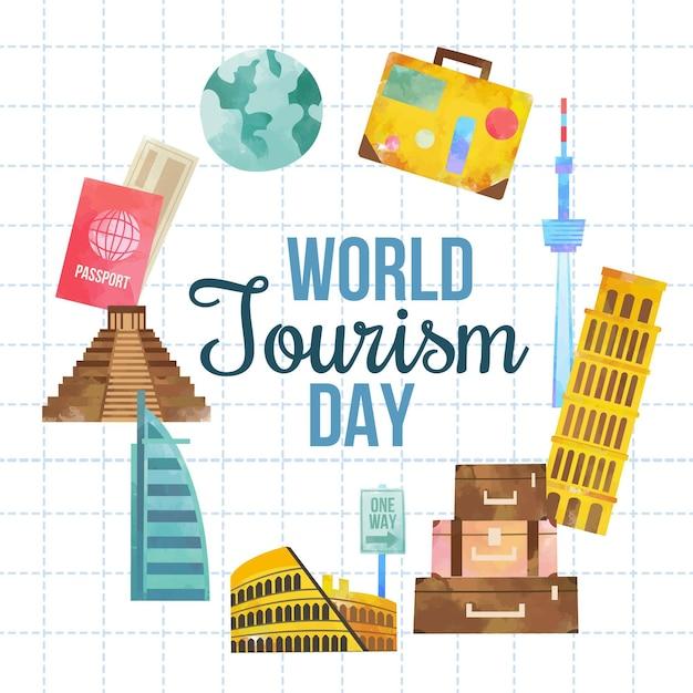 Concept De La Journée Mondiale Du Tourisme Design Plat Vecteur gratuit