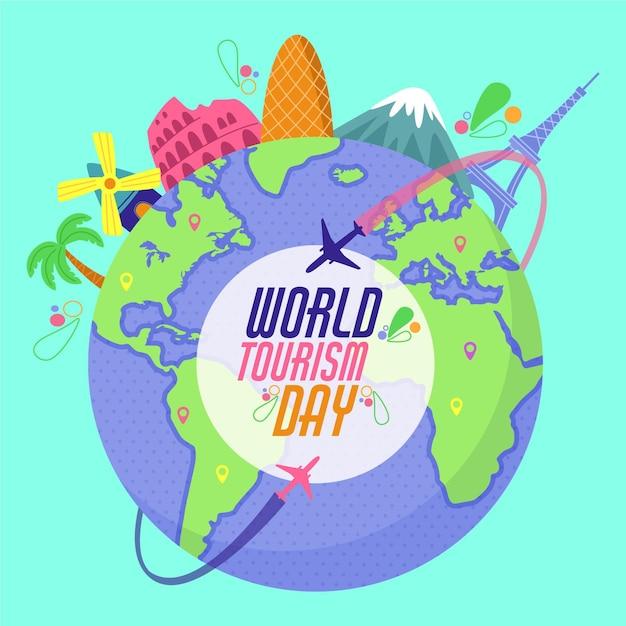Concept De Journée Mondiale Du Tourisme Plat Vecteur gratuit