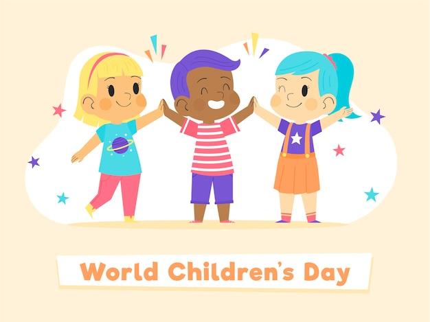 Concept De La Journée Mondiale Des Enfants Dessinés à La Main Vecteur Premium