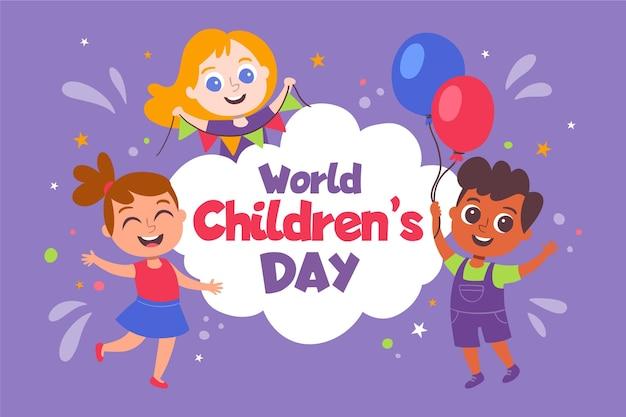 Concept De La Journée Mondiale Des Enfants Dessinés à La Main Vecteur gratuit