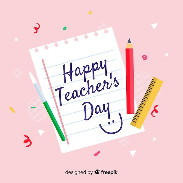 Concept de la journée mondiale des enseignants dessiné à la main Vecteur gratuit