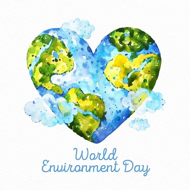 Concept De Journée Mondiale De L'environnement Aquarelle Vecteur gratuit