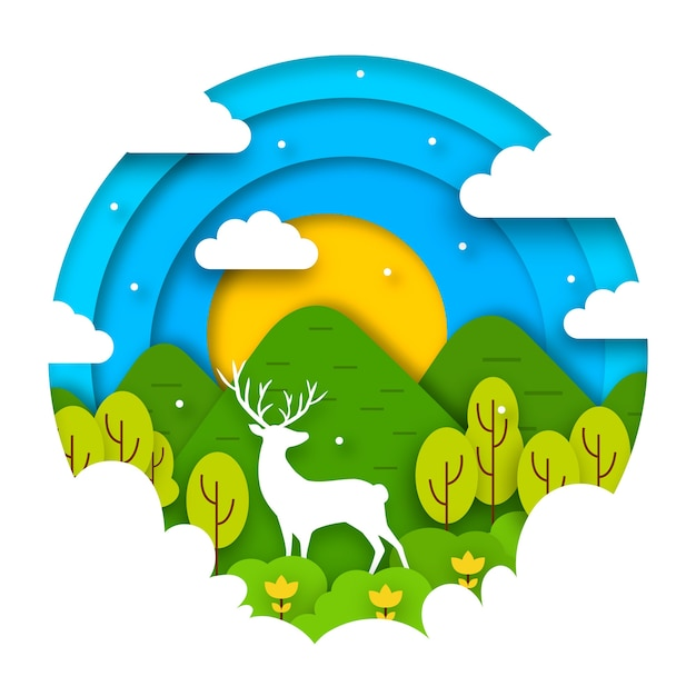 Concept De La Journée Mondiale De L'environnement Dans Le Style Du Papier Vecteur gratuit