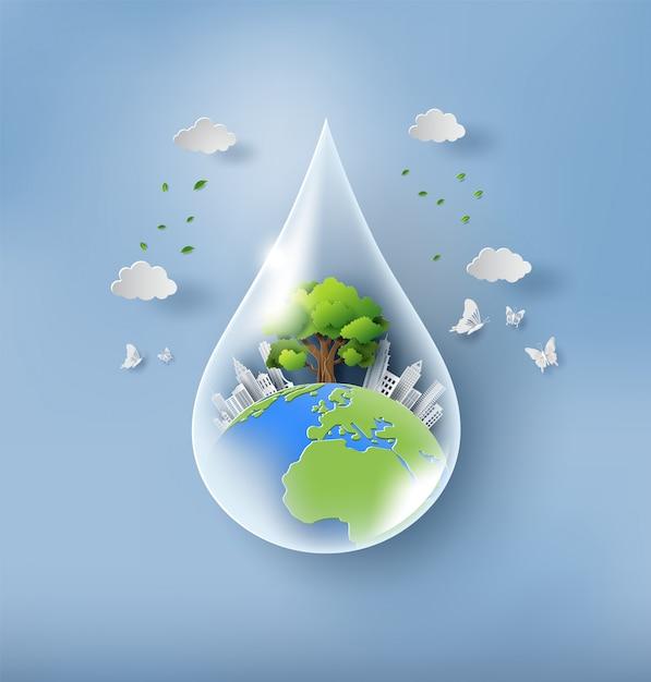 Concept de la journée mondiale de l'environnement, goutte d'eau avec la terre. Vecteur Premium