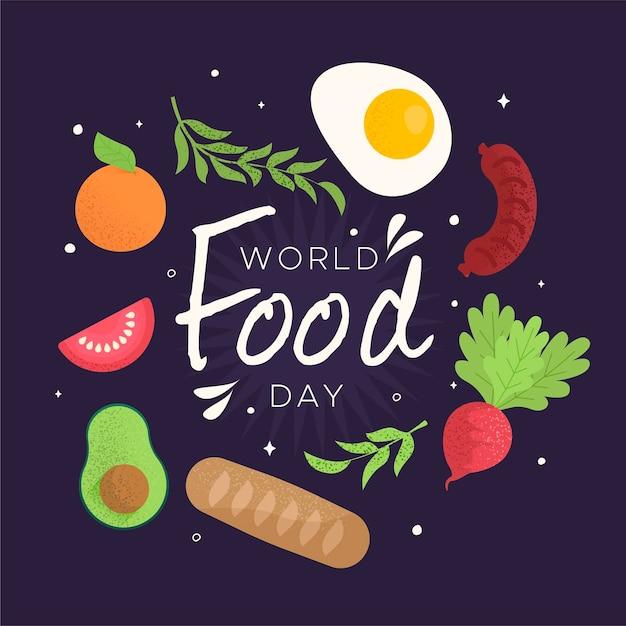 Concept De La Journée Mondiale De La Nourriture Design Plat Vecteur gratuit