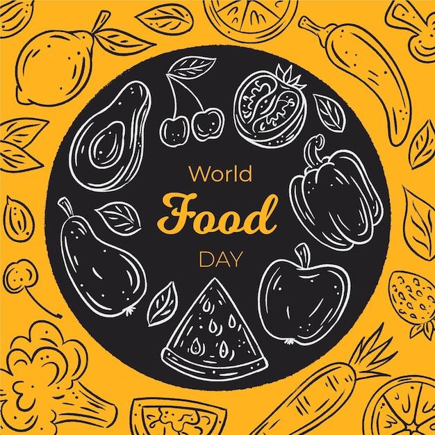 Concept De La Journée Mondiale De La Nourriture Dessinée à La Main Vecteur gratuit