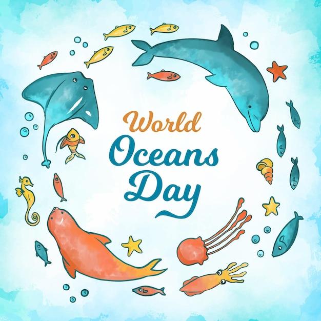 Concept De La Journée Mondiale Des Océans Aquarelle Vecteur gratuit