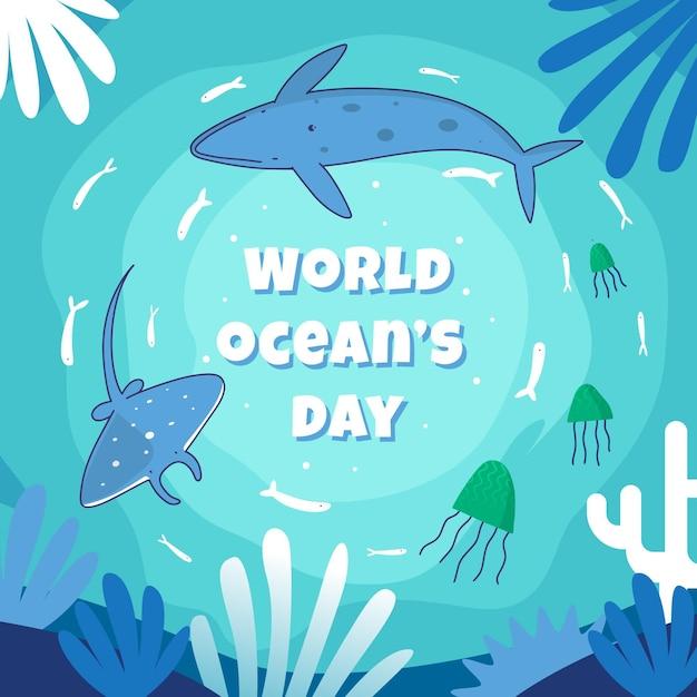 Concept De La Journée Mondiale Des Océans Dessiné à La Main Vecteur gratuit