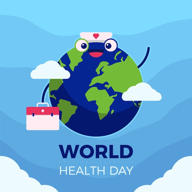Concept De Journée Mondiale De La Santé à Plat Vecteur gratuit