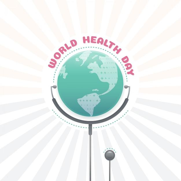 Concept de la journée mondiale de la santé, santé mondiale avec stéthoscope Vecteur Premium