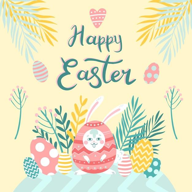 Concept De Joyeuses Pâques Dessiné à La Main Vecteur gratuit