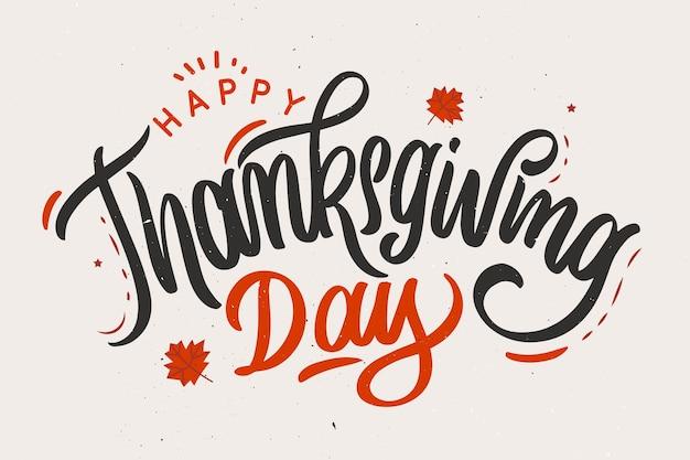 Concept de joyeux thanksgiving avec lettrage Vecteur gratuit