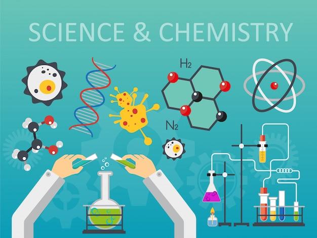 Concept de laboratoire de sciences chimiques Vecteur Premium