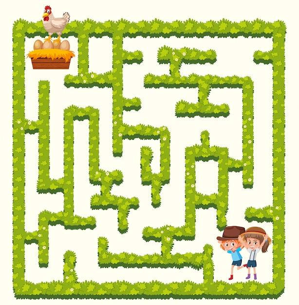 Concept de labyrinthe de filles de ferme Vecteur Premium