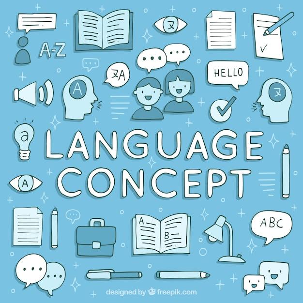 Concept de langues dessinées à la main Vecteur gratuit