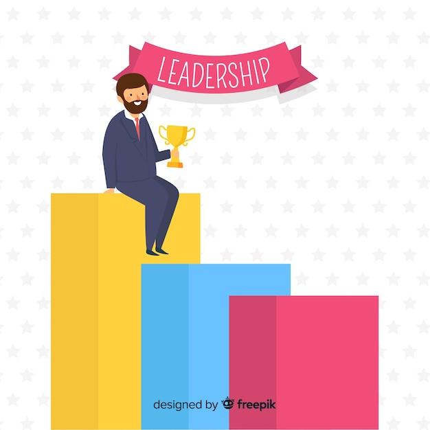 Concept de leadership dans le style plat Vecteur gratuit