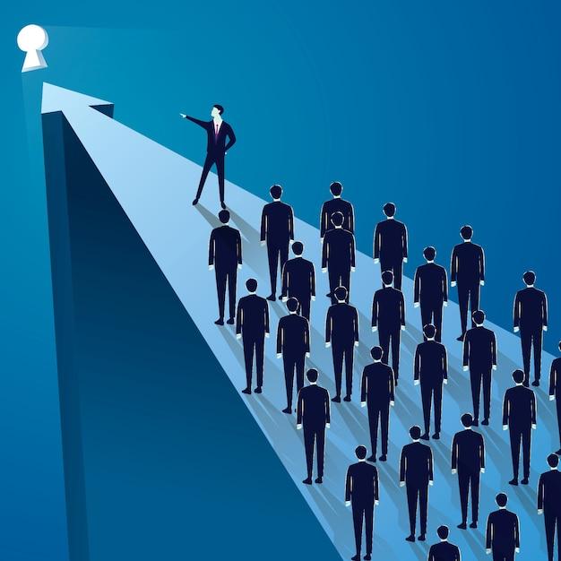 Concept de leadership d'entreprise, gestionnaire dirigeant le groupe d'équipe de gens d'affaires allant de l'avant Vecteur Premium
